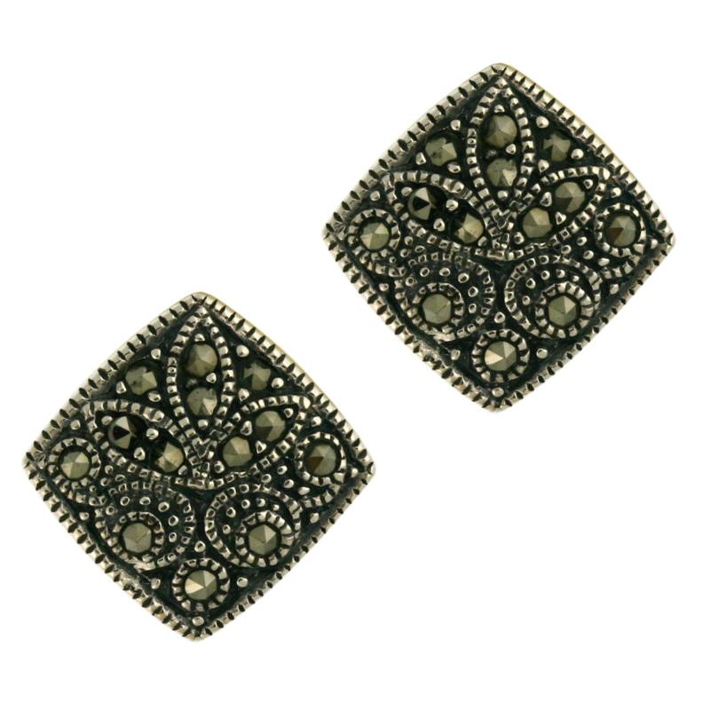 DESIGNS BY FMC Marcasite Sterling Silver Square Earrings
