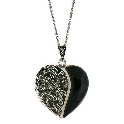Black Onyx and Marcasite Sterling Silver Heart Locket Pendant with 18