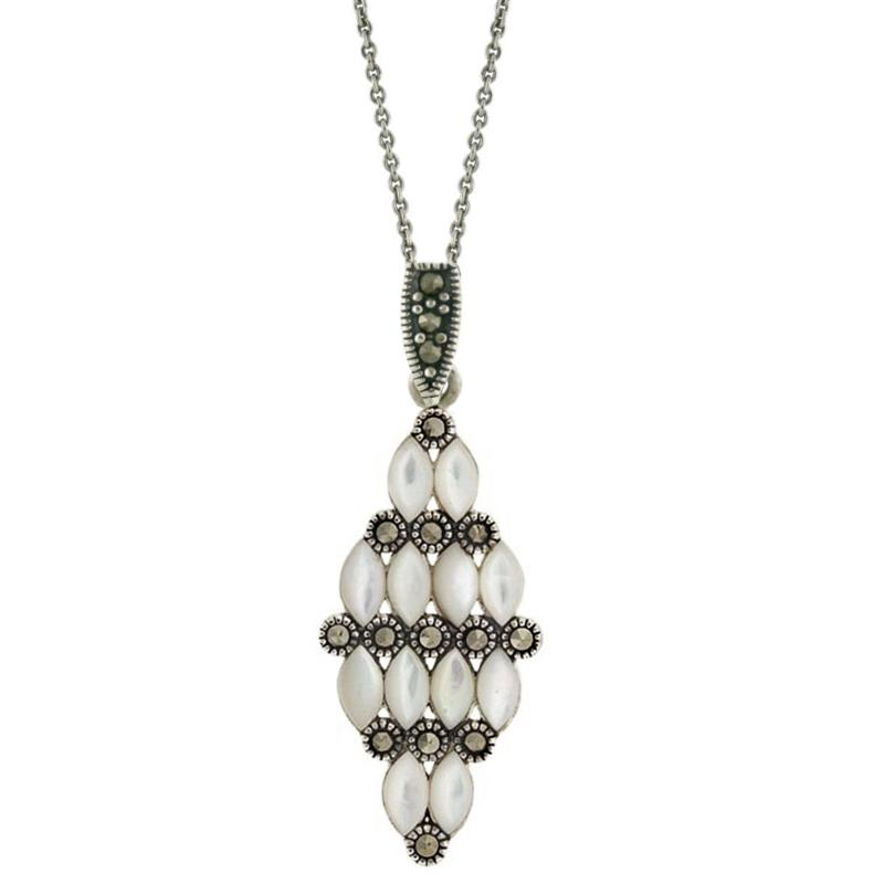 DESIGNS BY FMC Marcasite and Mother-of-Pearl Sterling Silver Pendant
