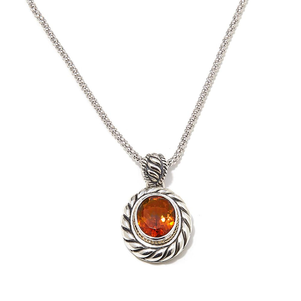 "Bali Designs by Robert Manse 3.71ctw Madeira Citrine 2-Tone Sterling Silver Pendant with 18"" Chain Necklace"