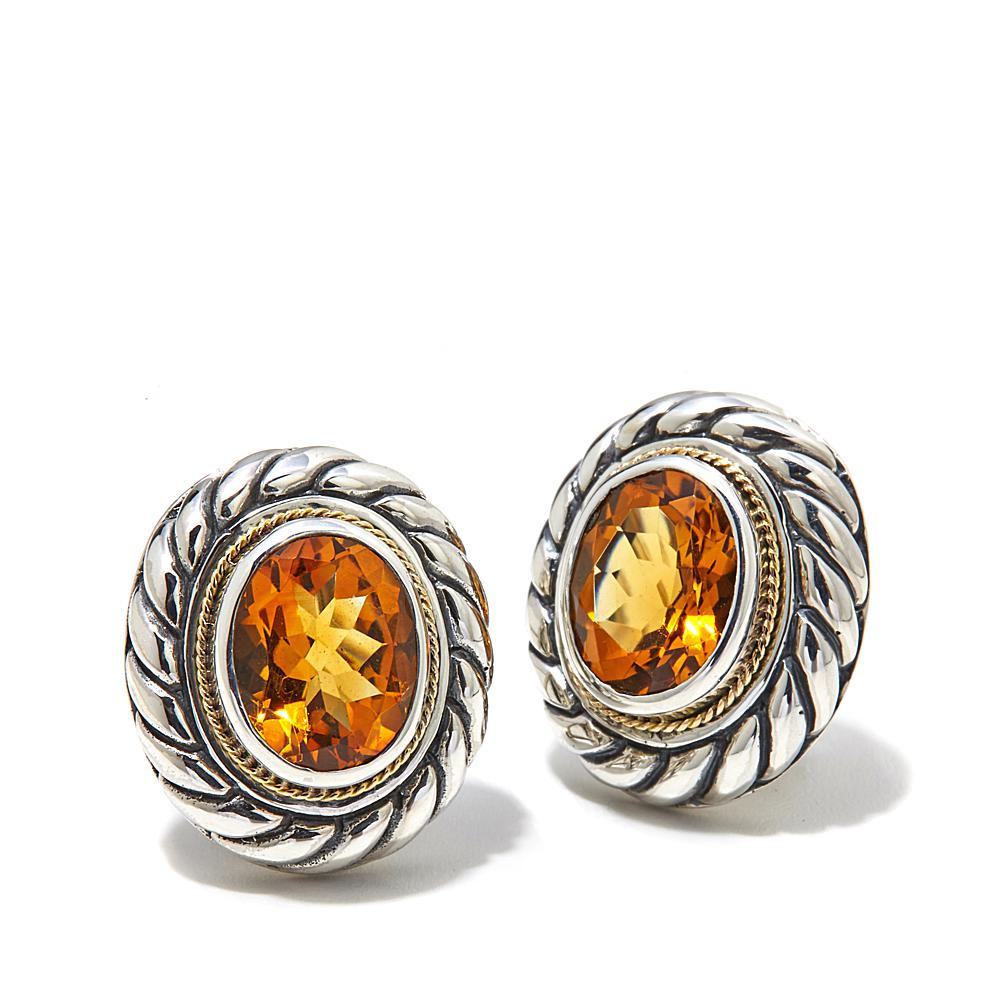 Bali Designs by Robert Manse 3.94ctw Madeira Citrine 2-Tone Sterling Silver Button Earrings