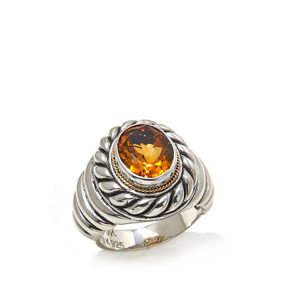 Bali Designs by Robert Manse 2.62ctw Madeira Citrine 2-Tone Sterling Silver Ring