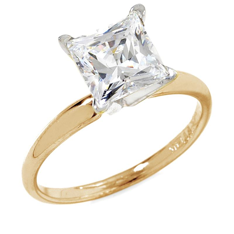 Absolute 2ct Absolute 14K Princess-Cut 4-Prong Solitaire Ring