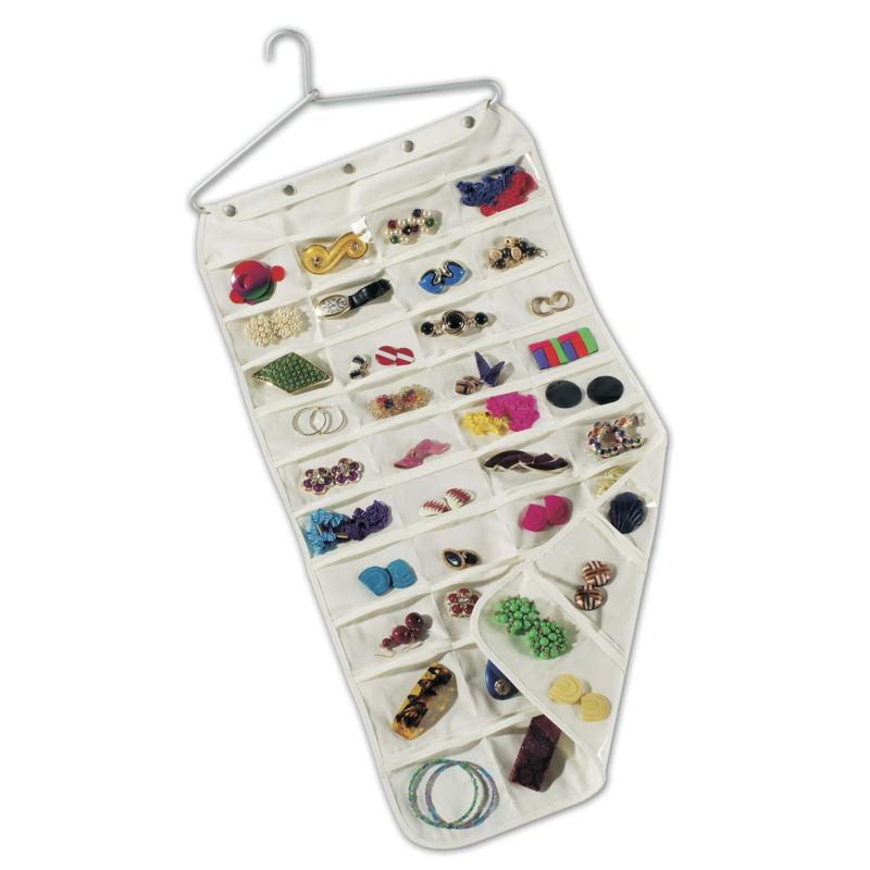 Household Essentials Canvas Jewelry 80-pocket Organizer with Aluminum Hanger