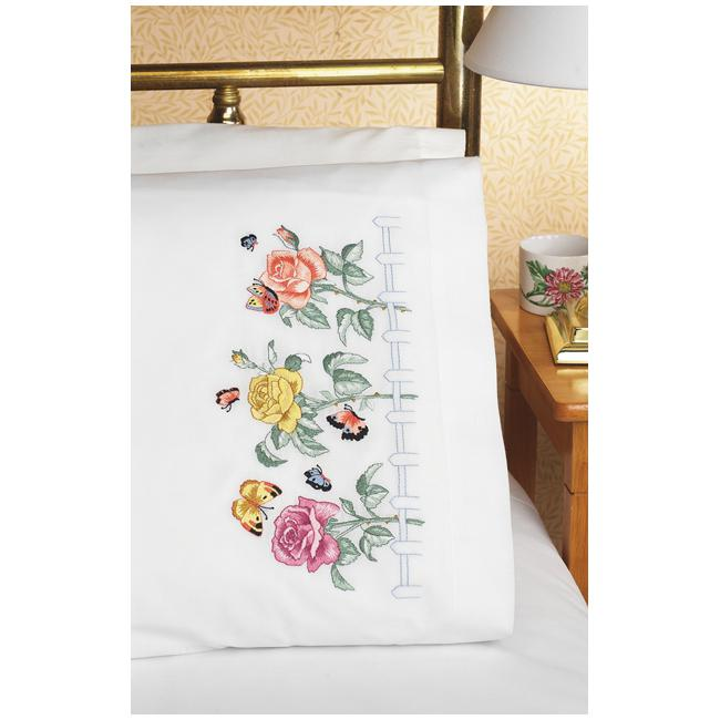 JANLYNN Stamped Embroidered Rose Garden Pillowcase Pair