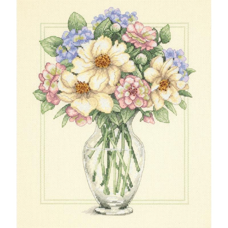DIMENSIONS Flowers In Tall Vase Counted Cross Stitch Kit - 12x14