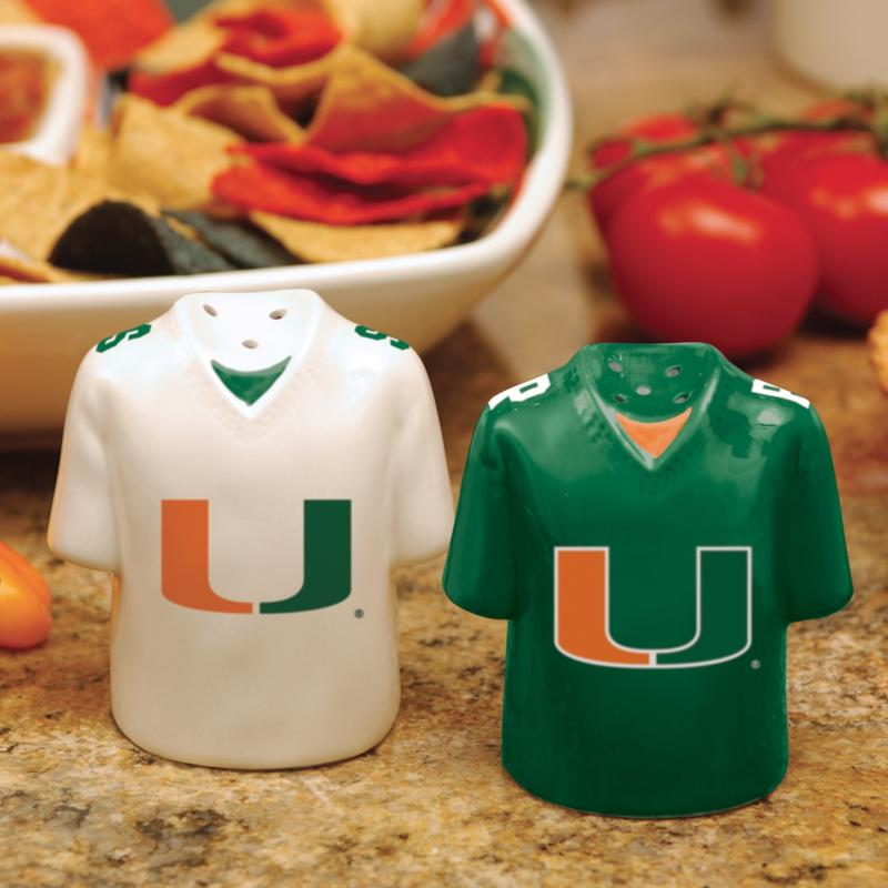MEMORY Company Ceramic Salt and Pepper Shakers - Miami Hurricanes