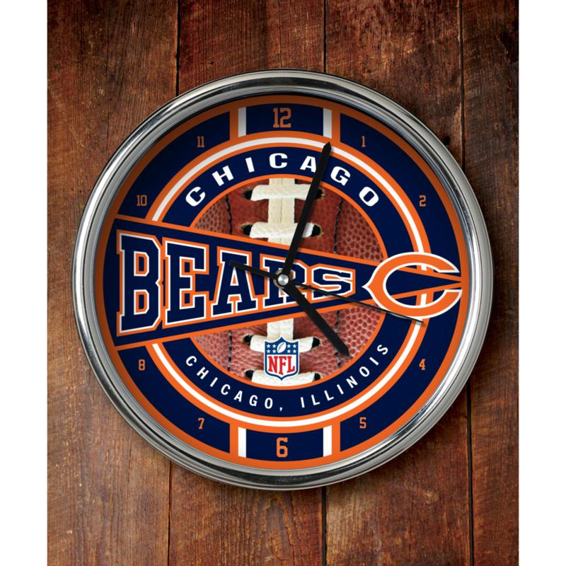 Football Fan Shop NFL Chrome Clock - Bears