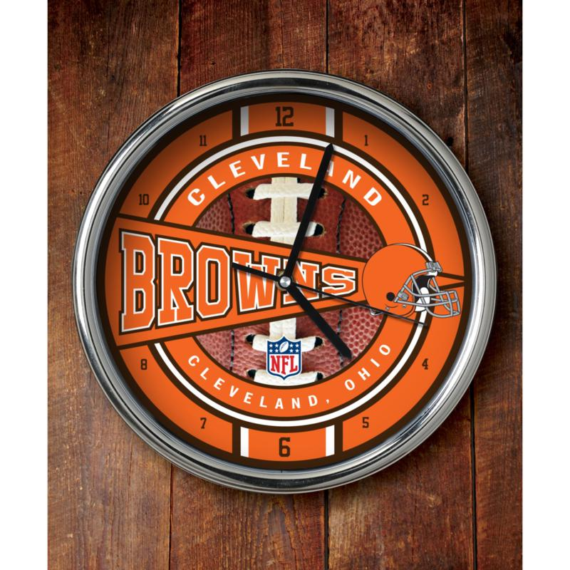 Football Fan Shop NFL Chrome Clock - Browns