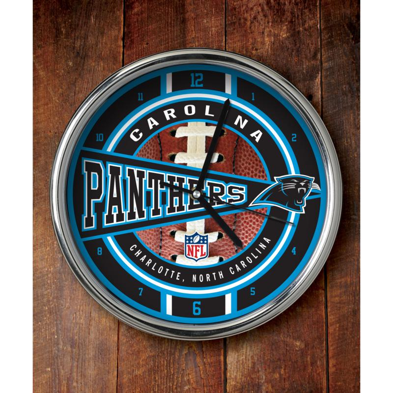 Football Fan Shop NFL Chrome Clock - Panthers