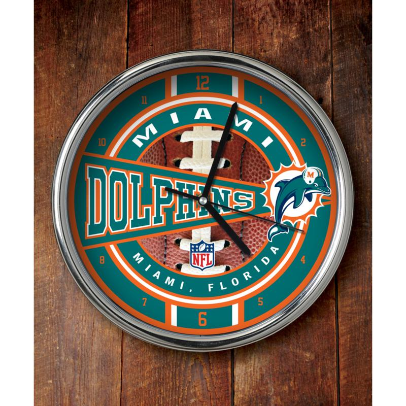 Football Fan Shop NFL Chrome Clock - Dolphins