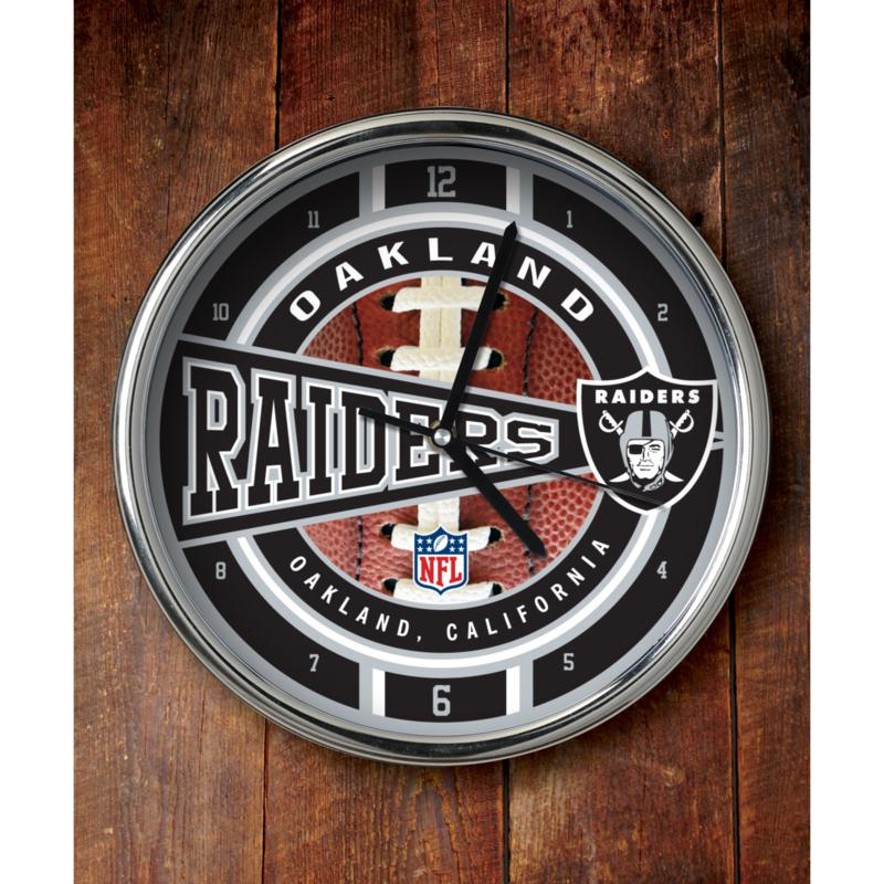 Football Fan Shop NFL Chrome Clock - Raiders