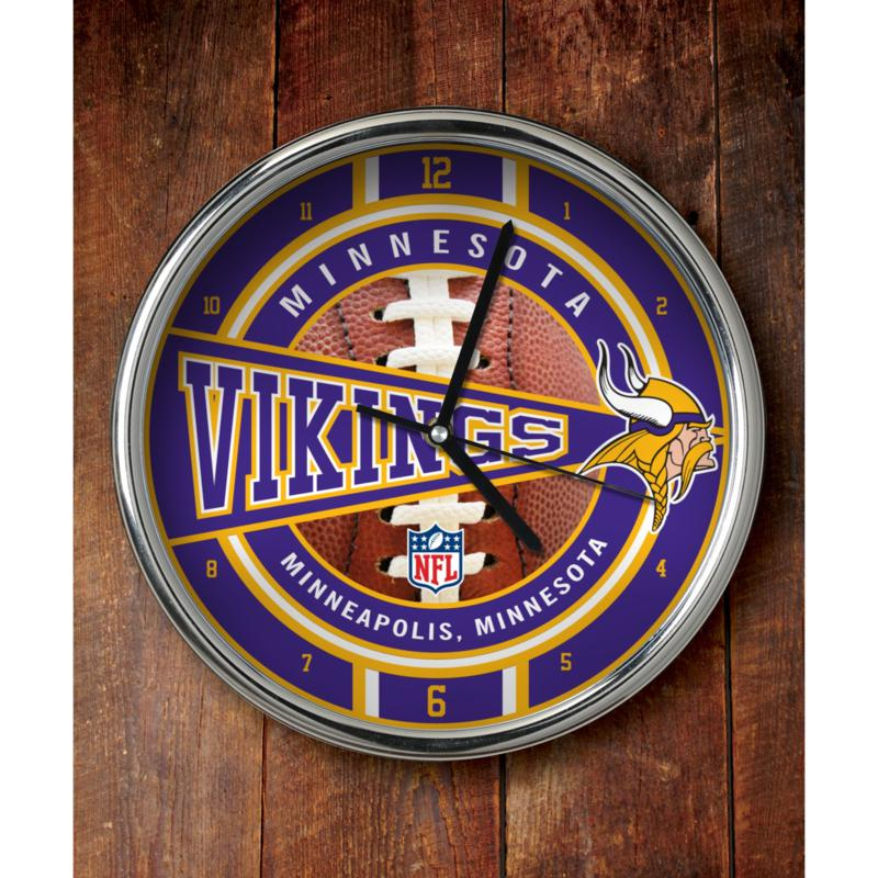 Football Fan Shop NFL Chrome Clock - Vikings