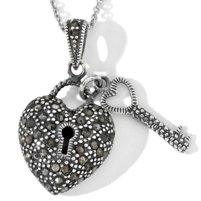DESIGNS BY FMC Sterling Silver Marcasite Heart and Key Pendant