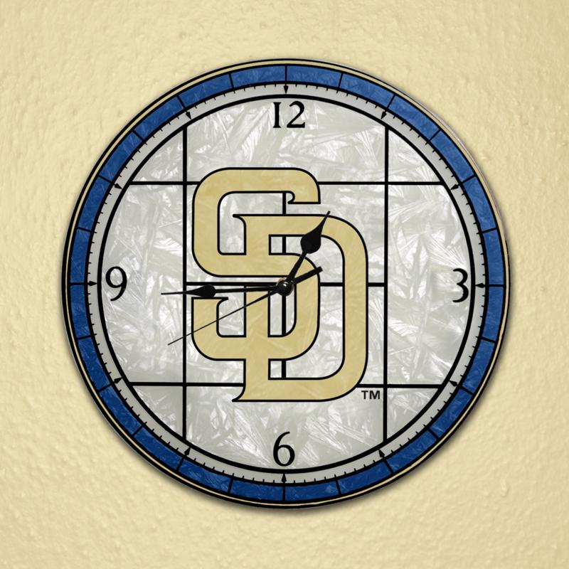 MEMORY Company Art Glass Wall Clock - San Diego Padres