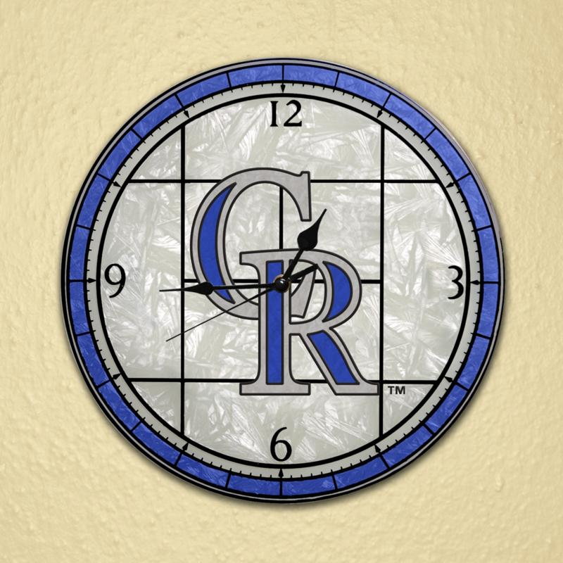 MEMORY Company Art Glass Wall Clock - Colorado Rockies