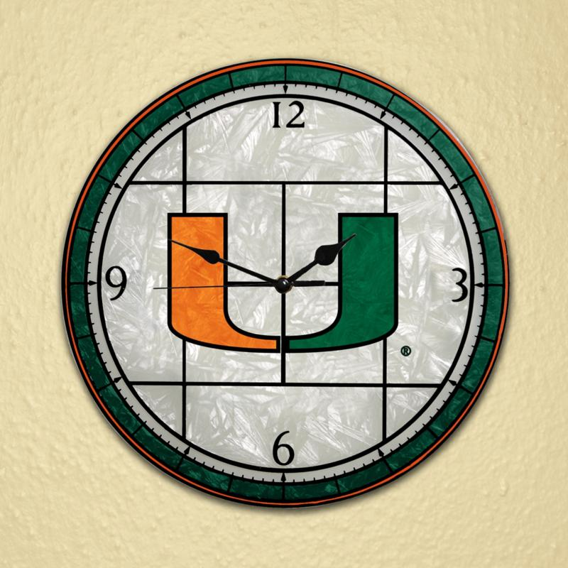MEMORY Company Art Glass Wall Clock - University of Miami