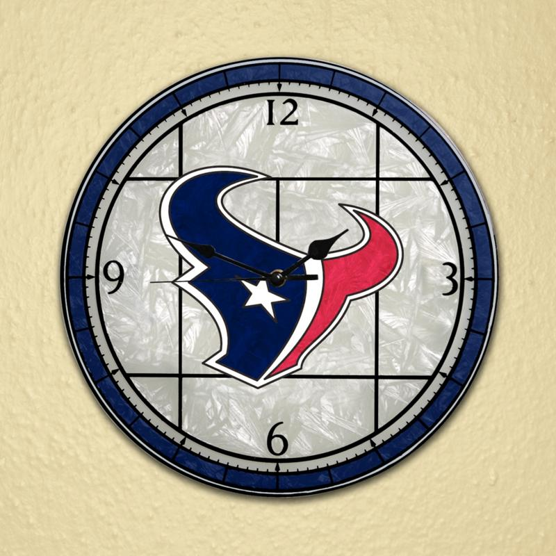 Football Fan Shop Art Glass Wall Clock - Houston Texans