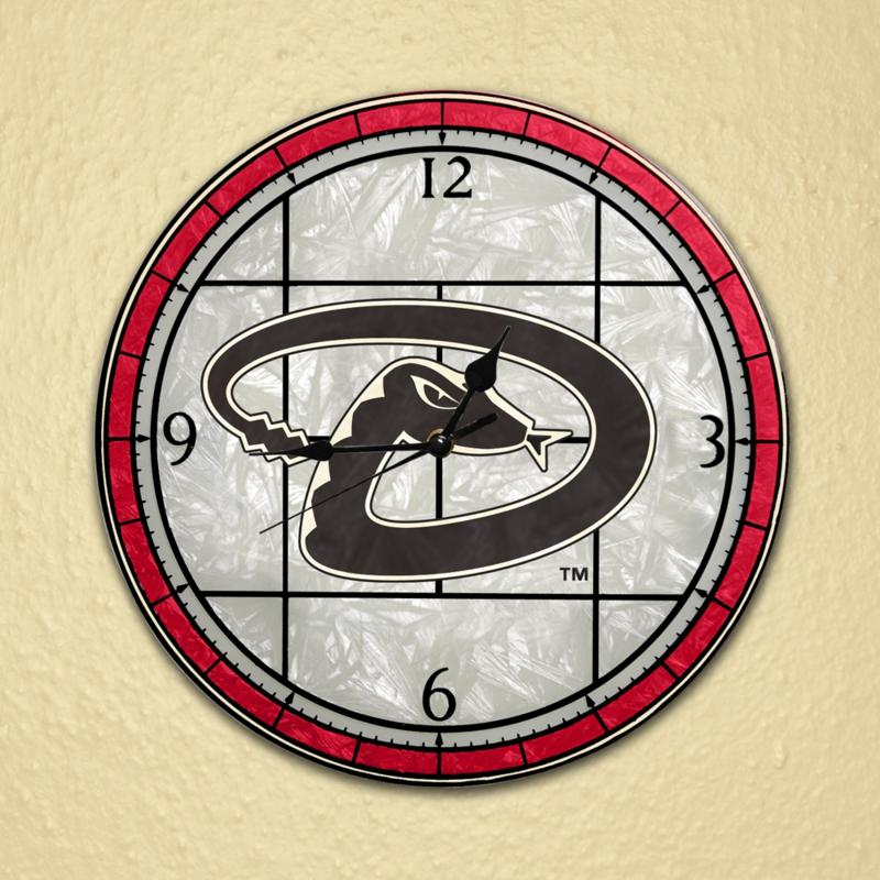 MEMORY Company Art Glass Wall Clock - Arizona Diamondbacks