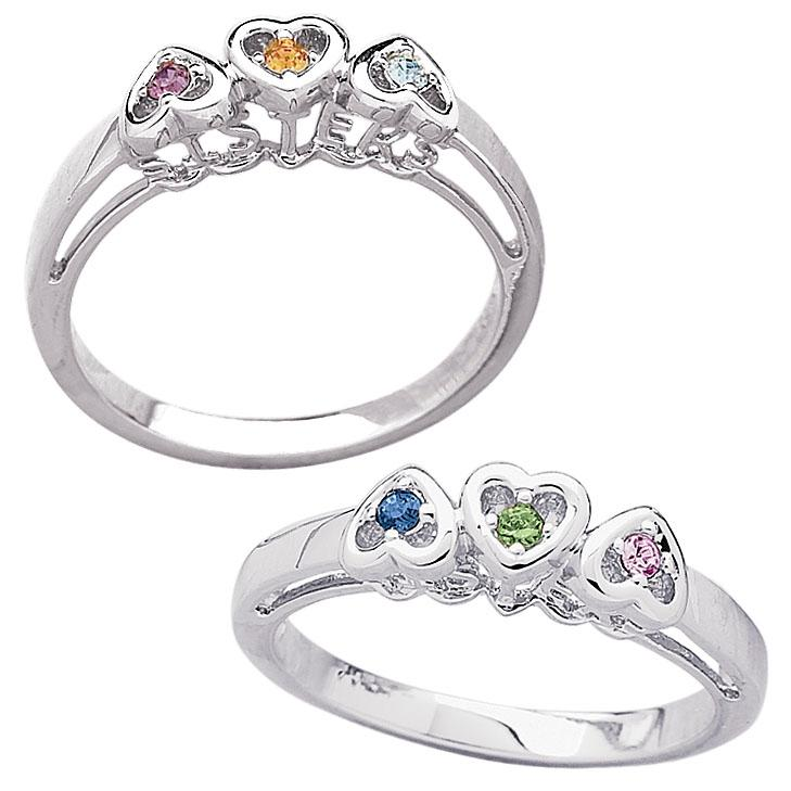 MBM COMPANY Sterling Silver Sisters Birthstone Heart Ring