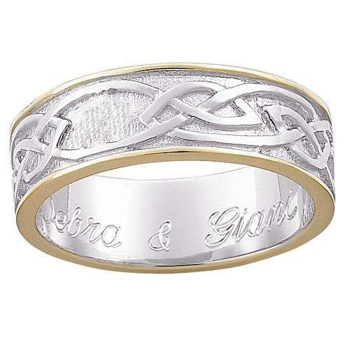 MBM COMPANY Sterling Silver Two-Tone Engraved Celtic Wedding Band