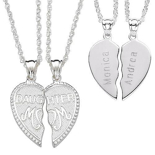 "Sterling Silver ""Breakable"" Mom and Daughter Engraveable Pendant"