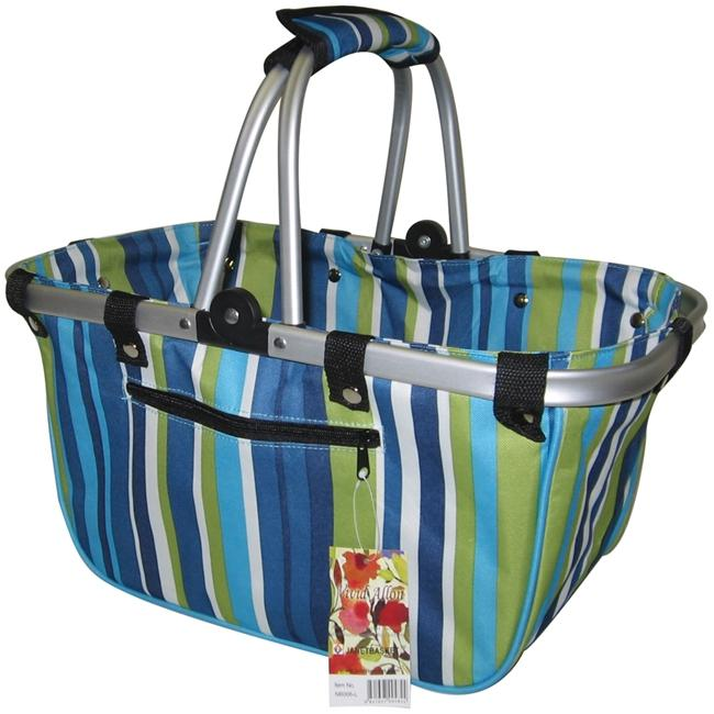 JanetBasket JanetBasket Large Aluminum Frame Bag - Blue Stripes