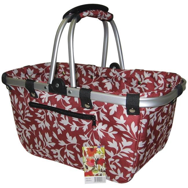 JanetBasket JanetBasket Large Aluminum Frame Bag - Red Floral