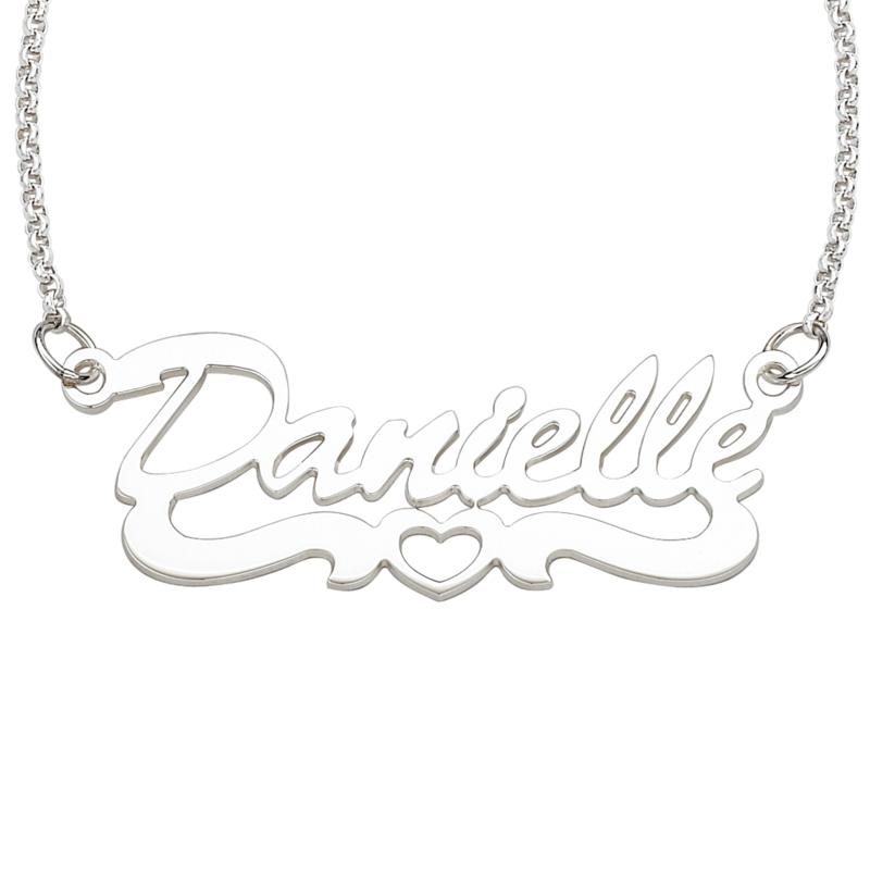 MBM COMPANY Sterling Silver Open Heart Name Necklace