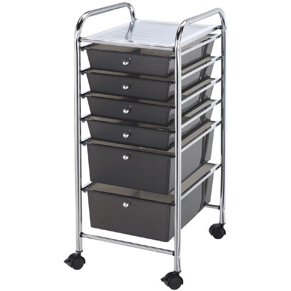 Scrapbooking Rolling Storage Cart with 6 Drawers - Smoke