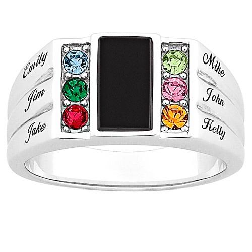 MBM COMPANY Dad's Sterling Silver and Genuine Black Onyx Family Birthstone Name Ring