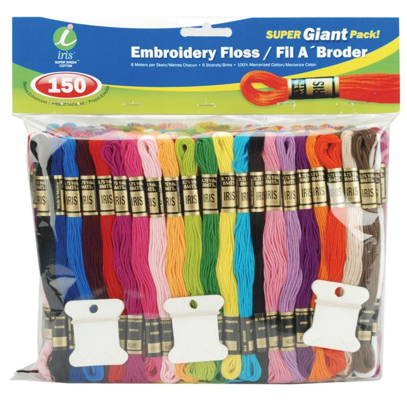 Iris Embroidery Floss Super Giant Pack 8 Meters 150-pack - Assorted Colors
