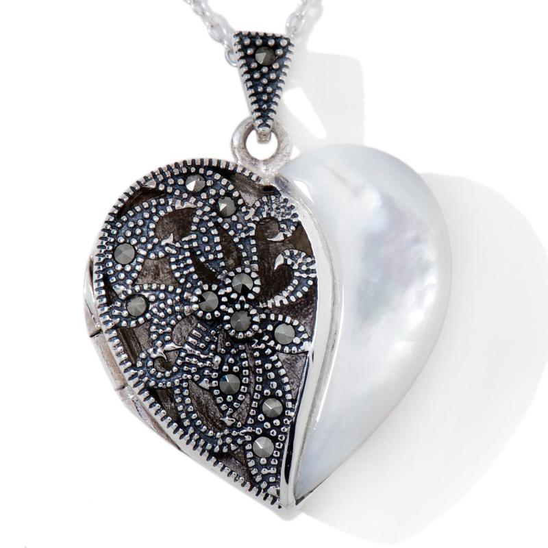 DESIGNS BY FMC Marcasite and Mother-of-Pearl Sterling Silver Heart Locket with Chain