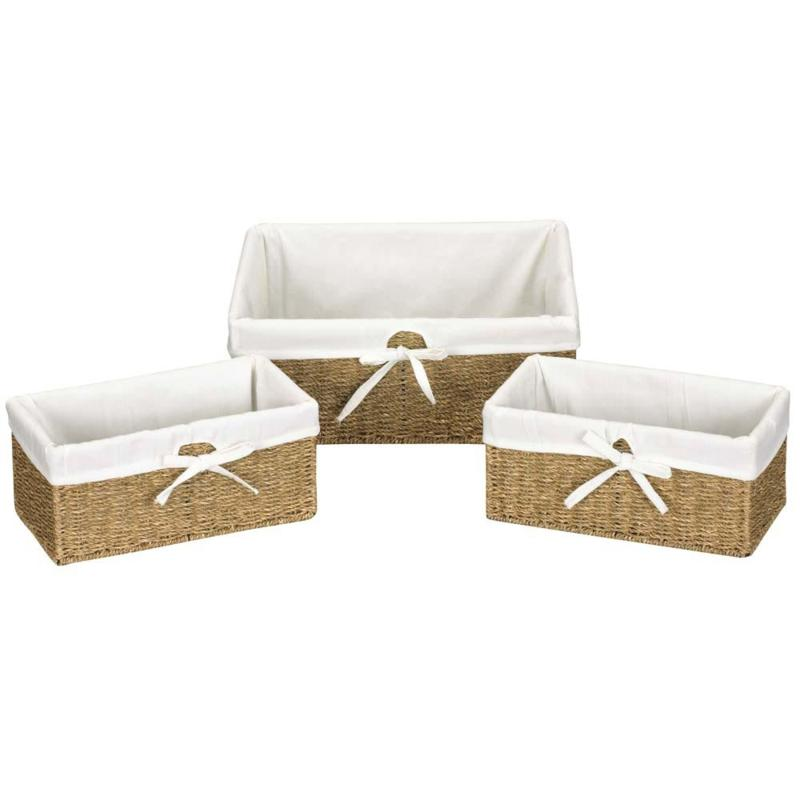 Household Essentials Set of 3 Seagrass Utility Baskets