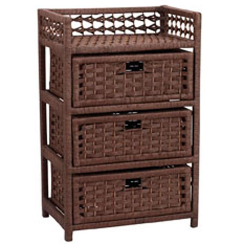 Household Essentials Paper Rope 3-Drawer Stained Chest