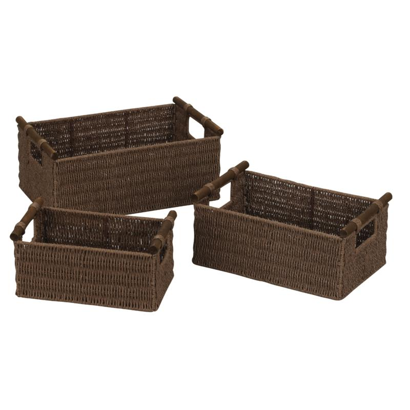 Household Essentials Paper Rope Set of 3 Natural Stain Baskets