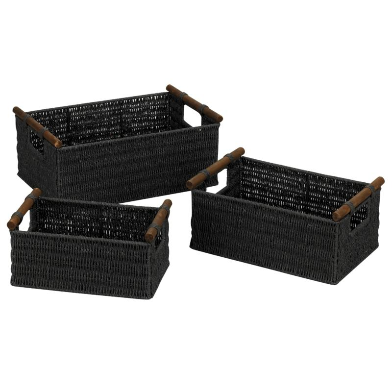 Household Essentials Paper Rope Set of 3 Black Stain Baskets