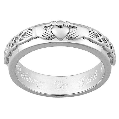 MBM COMPANY Sterling Silver Engraved Claddagh Wedding Band