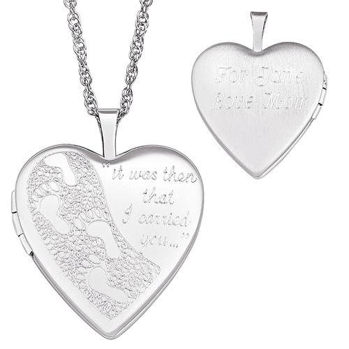 MBM COMPANY Sterling Silver Engraved Footprints Locket
