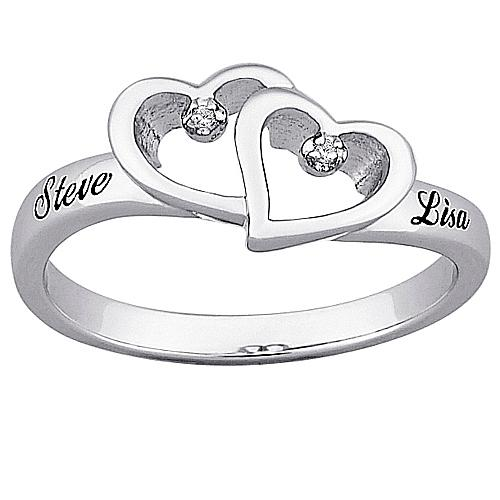 MBM Top-Engraved Sterling Silver Diamond Hearts and Name Promise Ring