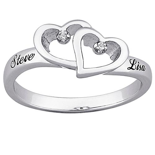 MBM COMPANY Top-Engraved Sterling Silver Diamond Hearts and Name Promise Ring
