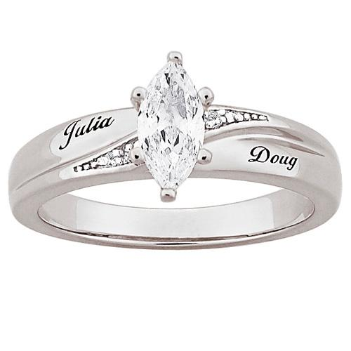 MBM COMPANY Marquise CZ Solitaire and Diamond-Accented Name-Engraved Wedding Ring