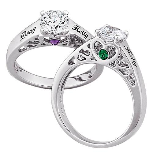 MBM COMPANY Sterling Silver Couple's Name and Birthstone CZ Promise Ring
