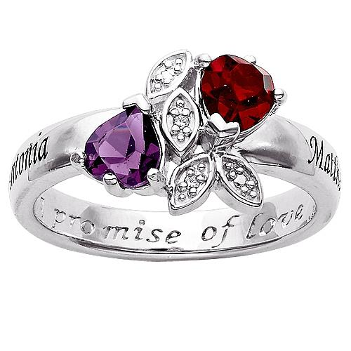 MBM Sterling Silver Couples Name and Birthstone Crystal Hearts and Diamond Promise Ring