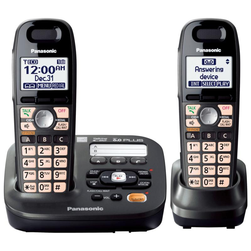 Panasonic DECT 6.0+ Digital Cordless Answering System with 2 Handsets - Titanium Black