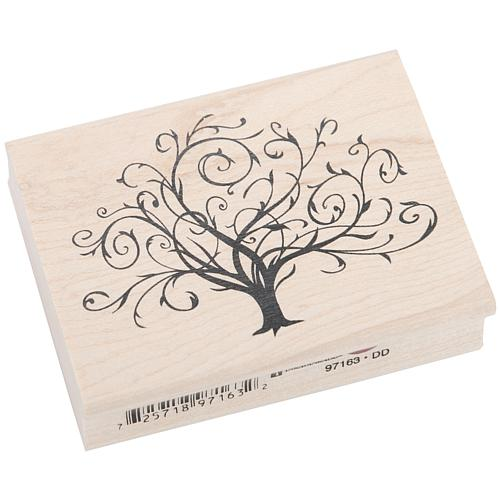 Inkadinkado Wood-Mounted Rubber Stamp - Flourished Fall Tree