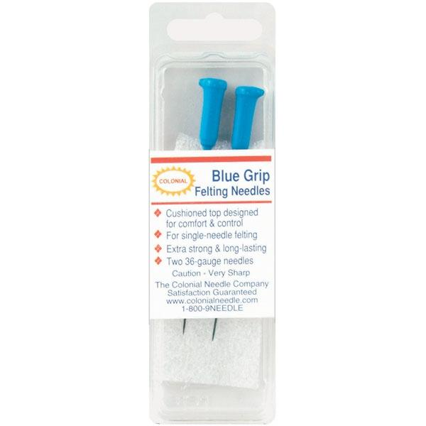 COLONIAL NEEDLE Colonial Needle Blue Grip Felting Needles - Size 36 Triangle 2-pack