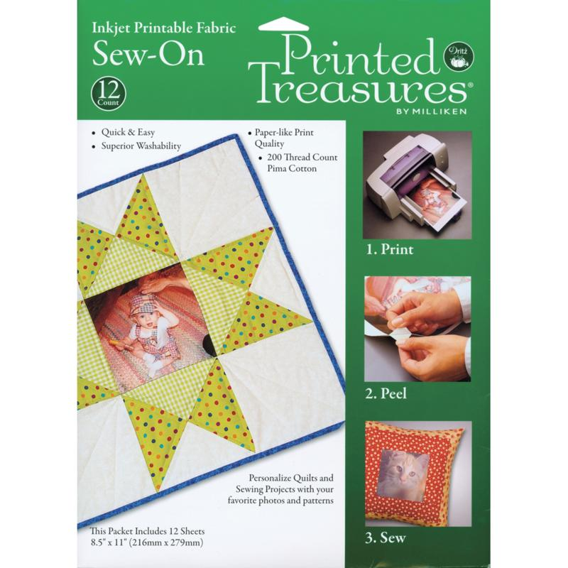 DRITZ Milliken Printed Treasures Sew-On Inkjet Fabric Sheets - 12-pack