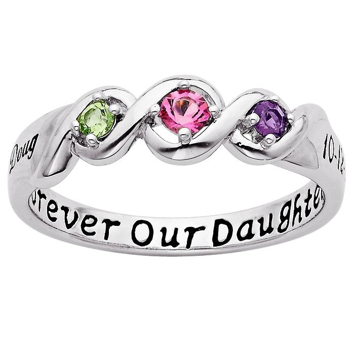 MBM COMPANY Sterling Sterling Daughters Name and Date Birthstone Ring