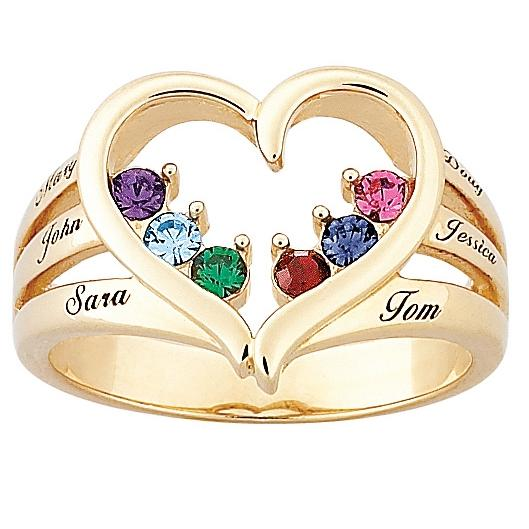 MBM COMPANY Mother's Birthstone Goldtone Heart Name Ring